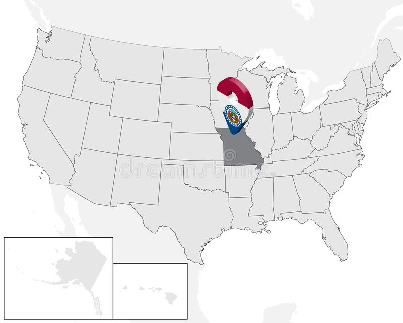 Карта положения государства Миссури на карте США штырь положения отметки карты флага Миссури государства 3d Высококачественная ка бесплатная иллюстрация