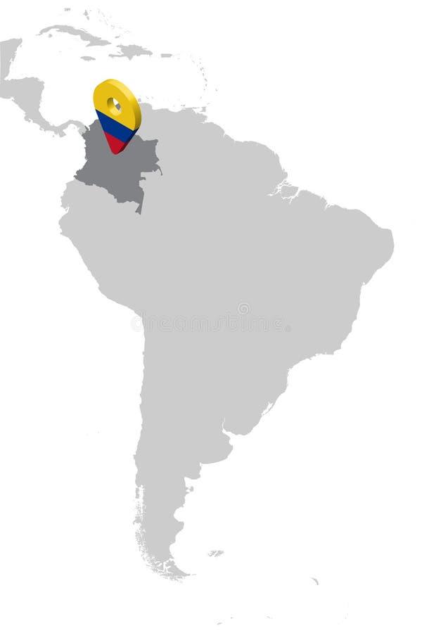 Карта положения Колумбии на карте Южной Америке штырь положения отметки карты флага 3d Колумбии Высококачественная карта Колумбии иллюстрация штока