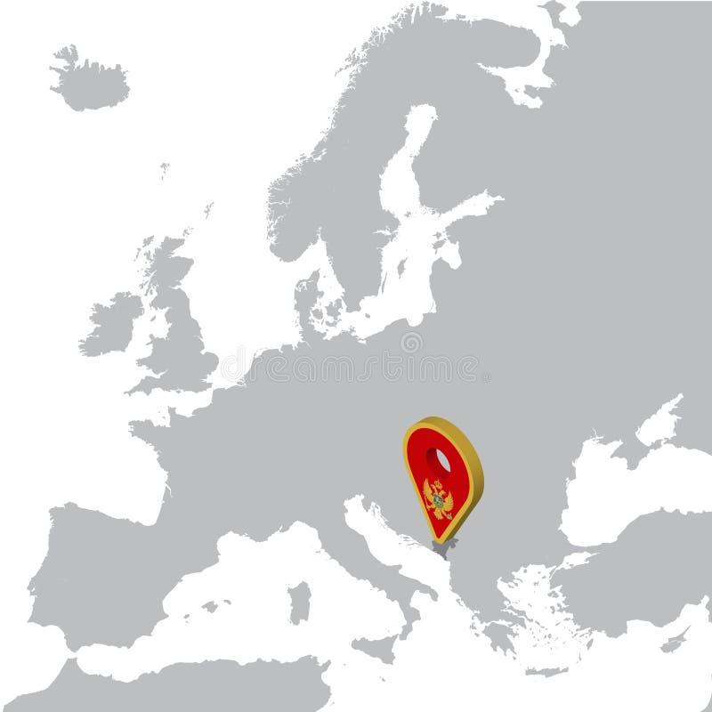 Карта положения Черногории на карте Европе штырь положения отметки карты флага 3d Черногории Высококачественная карта Черногории иллюстрация вектора
