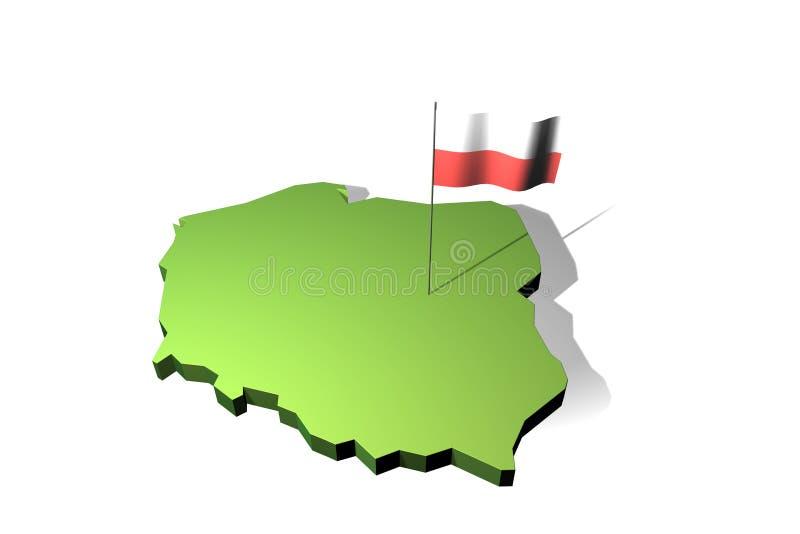 карта Польша флага иллюстрация вектора