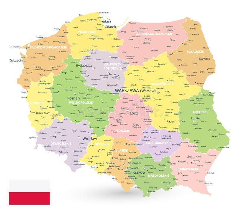 Карта Польши изолированная на белизне иллюстрация вектора