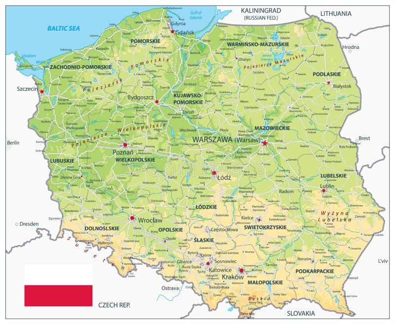Карта Польши физическая бесплатная иллюстрация