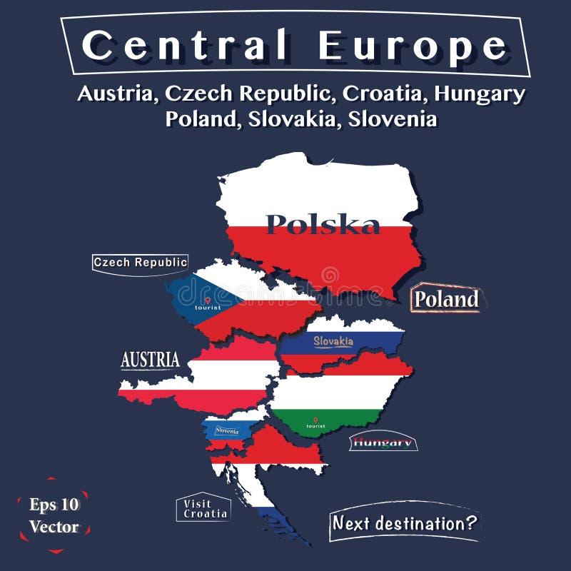 Карта политики Центральной Европы Австрия, чехия, Венгрия, Польша, Хорватия, Словакия, Словения Иллюстрация вектора в colo бесплатная иллюстрация