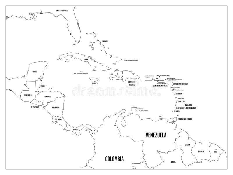Карта положений Центральной Америки и Вест-Инди политическая Черные границы плана с черными ярлыками имен страны Простая квартира бесплатная иллюстрация