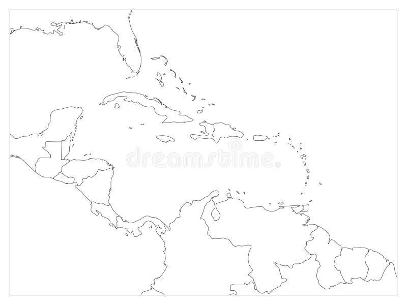 Карта положений Центральной Америки и Вест-Инди политическая Черные границы плана Простая плоская иллюстрация вектора иллюстрация вектора