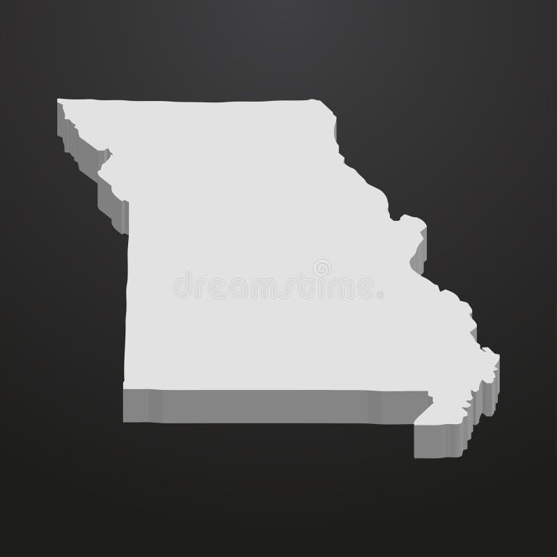 Карта положения Миссури в сером цвете на черной предпосылке 3d бесплатная иллюстрация