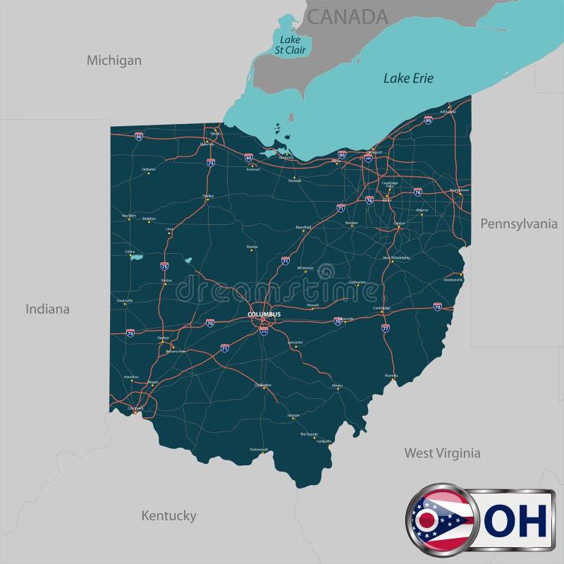 Карта положения Огайо, США иллюстрация вектора
