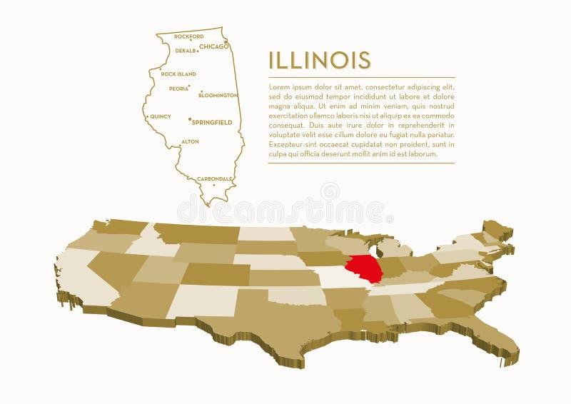 карта положения 3D США - ИЛЛИНОЙС иллюстрация вектора