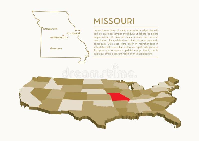 карта положения 3D США - МИССУРИ иллюстрация штока