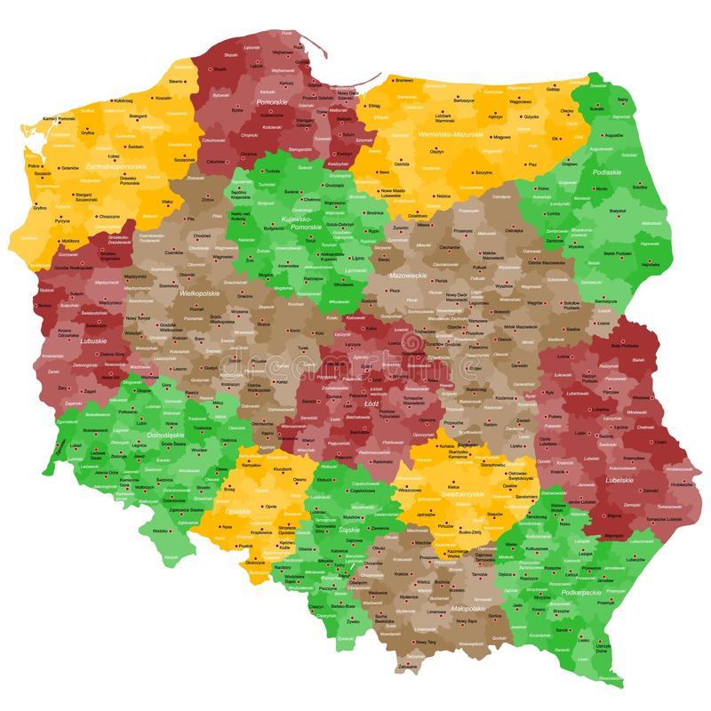 Карта Польши стоковые фотографии rf