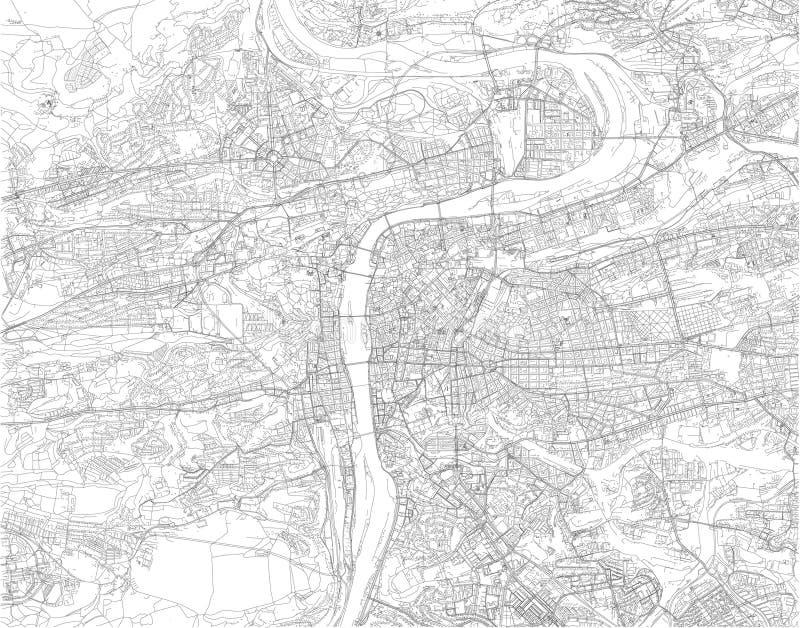 Карта Праги, спутникового взгляда, города, чехии иллюстрация вектора