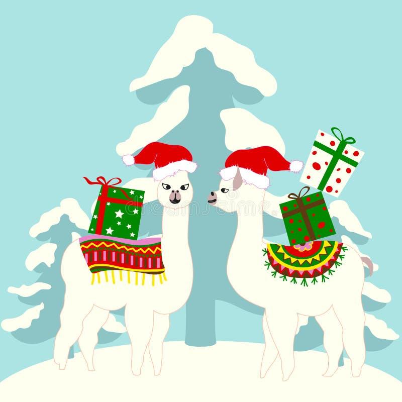 Карта праздника рождества с милыми ламами иллюстрация штока