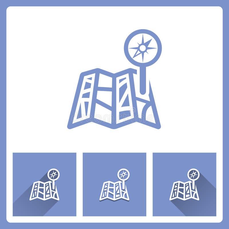 Карта прикалывает значки на белой предпосылке иллюстрация штока