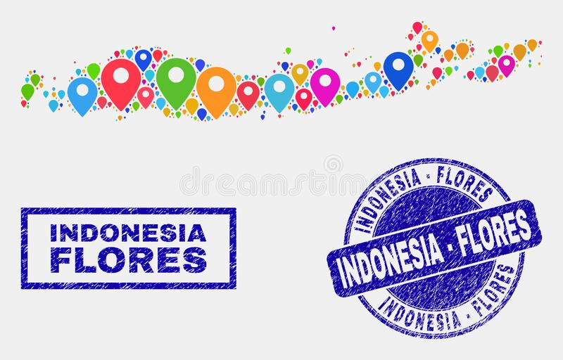 Карта прикалывает коллаж островов Flores уплотнений печати карты и Grunge Индонезии иллюстрация штока