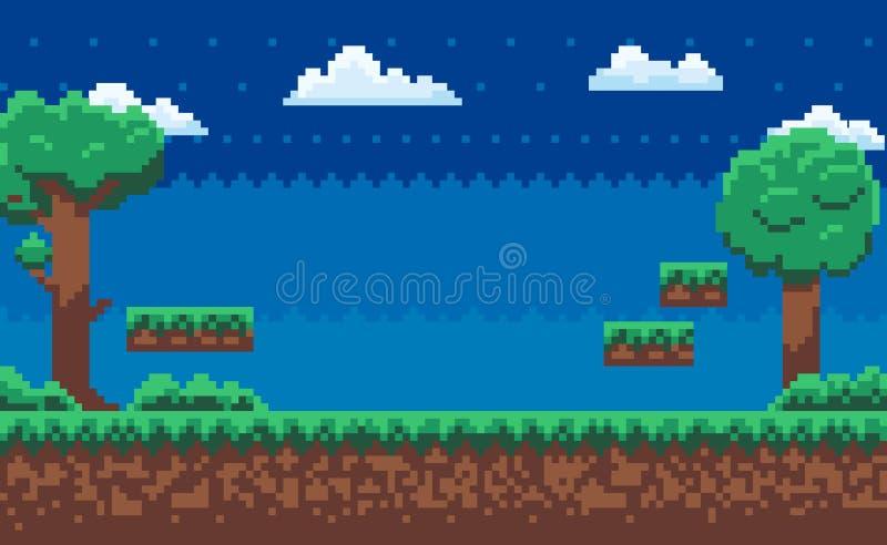 Карта приключения, игра пиксела, зеленый вектор природы иллюстрация штока