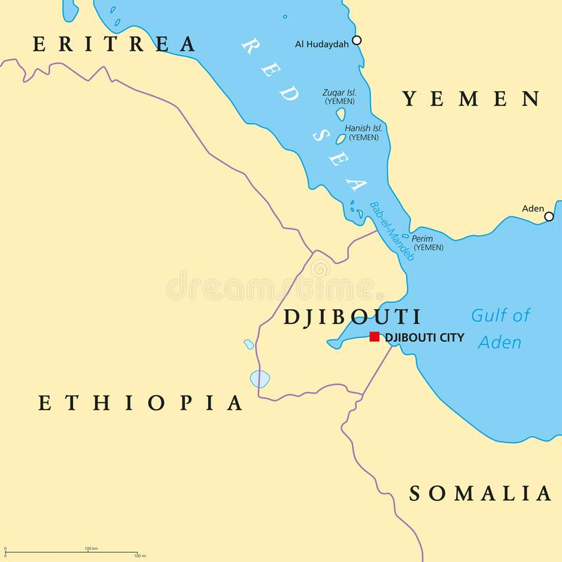 Карта пролива Bab el Mandeb политическая иллюстрация вектора