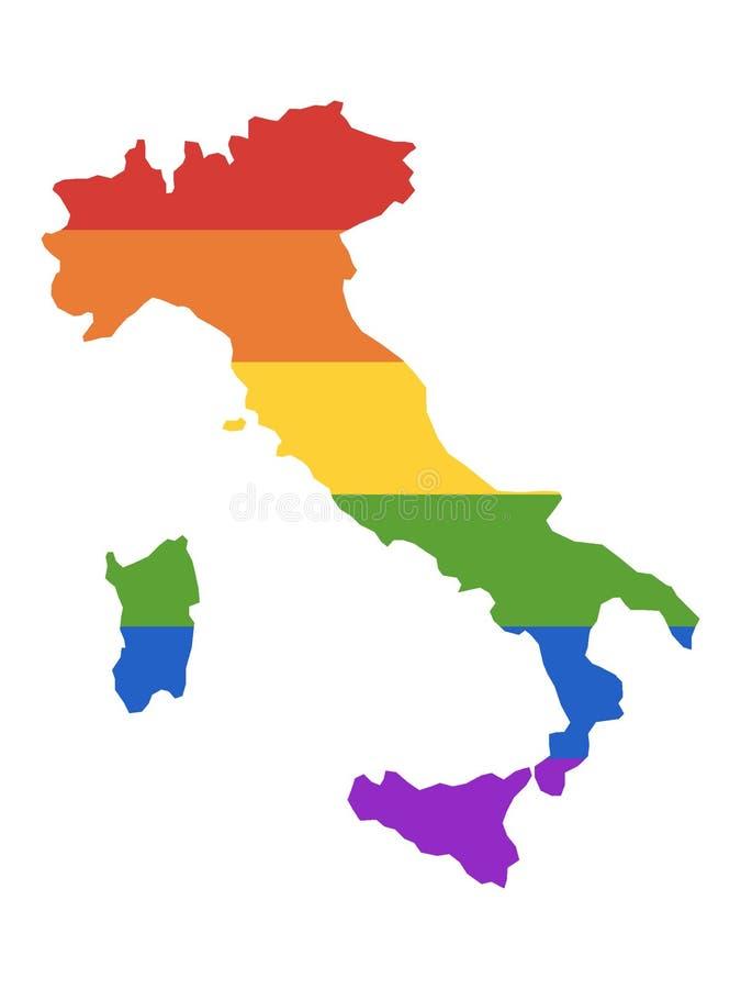 Карта радуги LGBT Италии иллюстрация штока