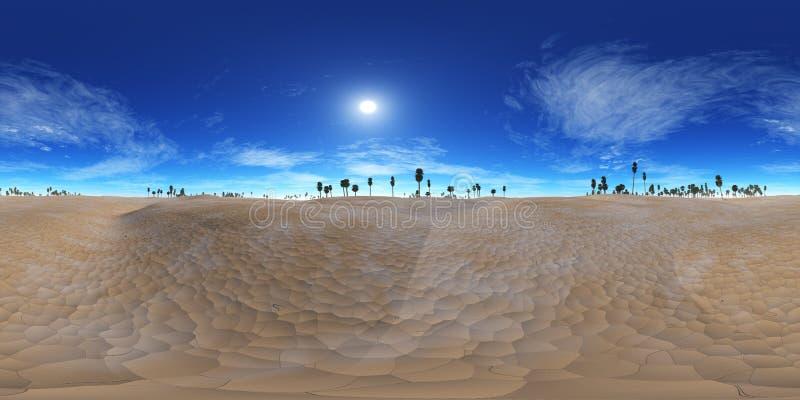 Карта разрешения HDRI высокая карта окружающей среды, пустыня панорамы заход солнца в пустыне, пирамида и ладони, иллюстрация вектора