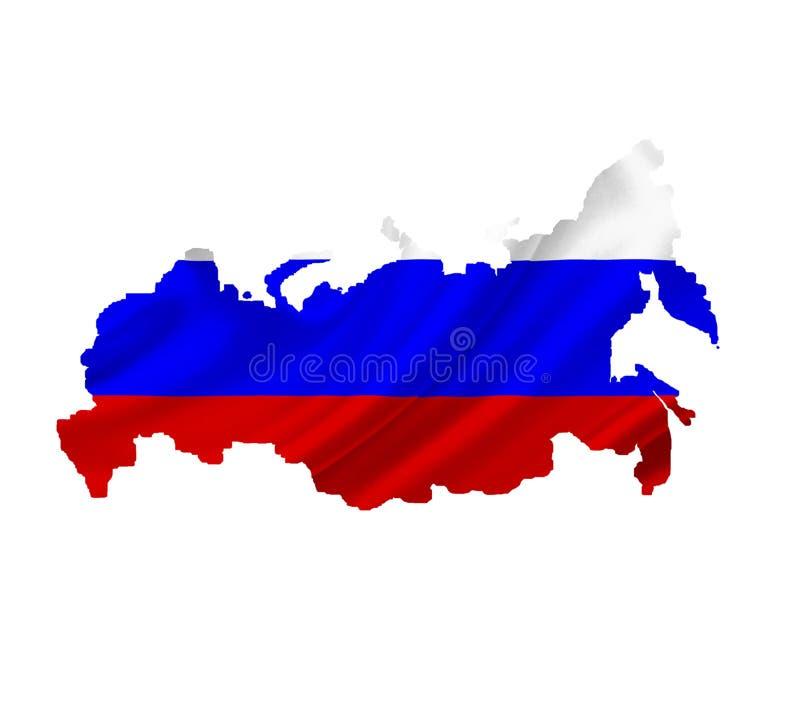 Карта России с развевая флагом изолированным на белизне стоковое фото rf