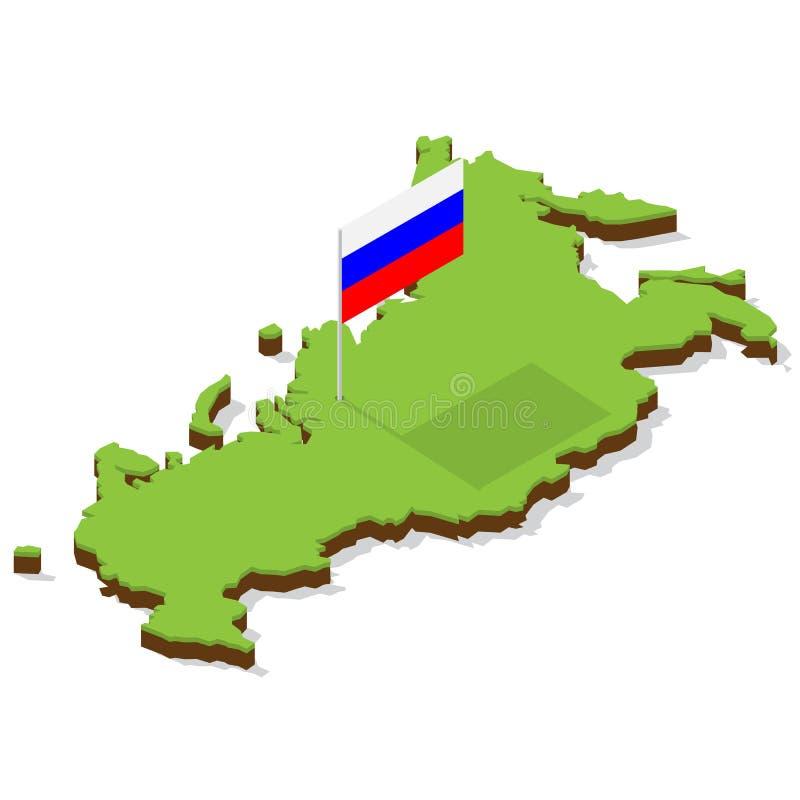 Карта России с флагом равновеликим стоковое изображение rf