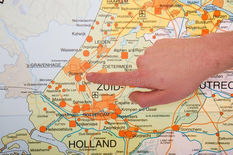 карта руки hague города голландская указывая к стоковое фото
