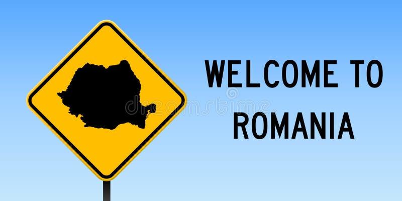 Карта Румынии на дорожном знаке иллюстрация штока