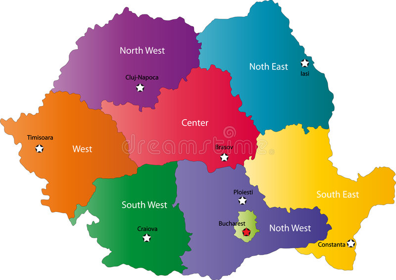 Карта Румынии иллюстрация вектора