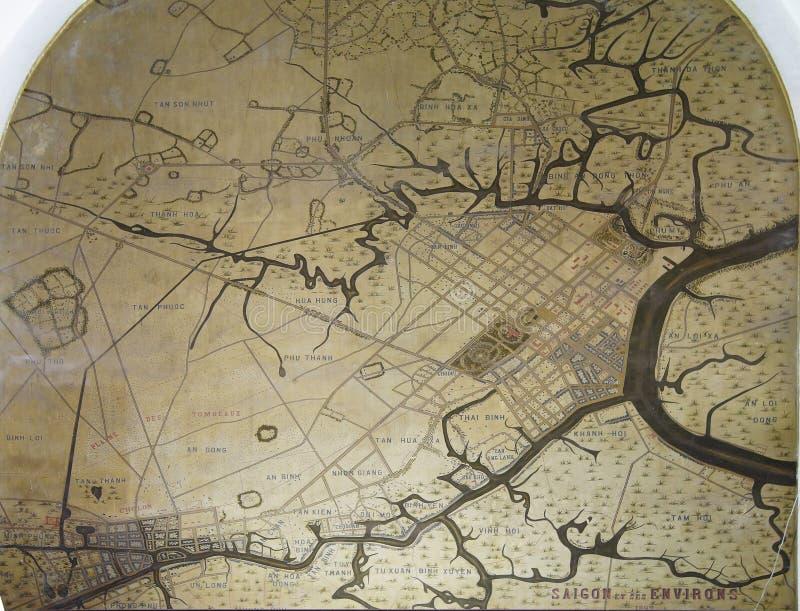 Карта Сайгона и окрестности иллюстрация штока