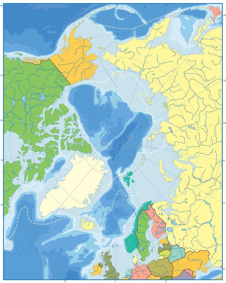 Карта Северного океана политическая отсутствие текста иллюстрация штока