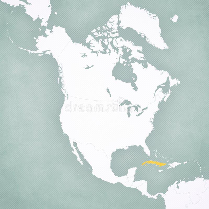 Карта Северной Америки - Кубы иллюстрация штока