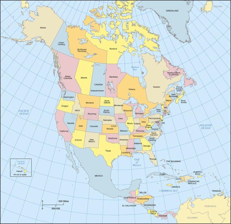 Карта Северной Америки иллюстрация штока