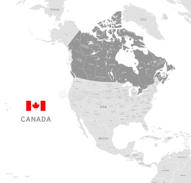 Карта серого вектора политическая Канады иллюстрация штока