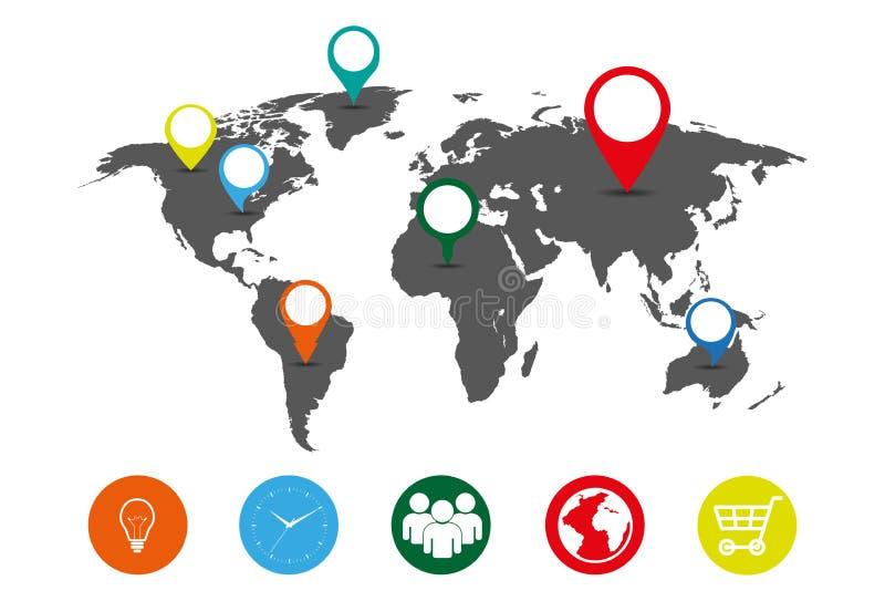 Карта серого цвета земли в значках цвета иллюстрация штока
