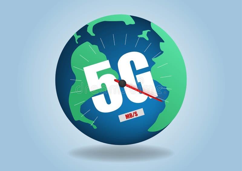 карта сетей связей земли сети 4g 5g глобальная соединений снабжения голубой карты мира глобальных Скорость беспроводной сети иллюстрация штока