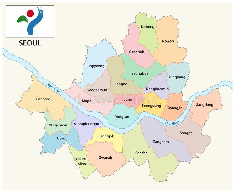 Карта Сеула административная и политическая вектора с флагом иллюстрация вектора
