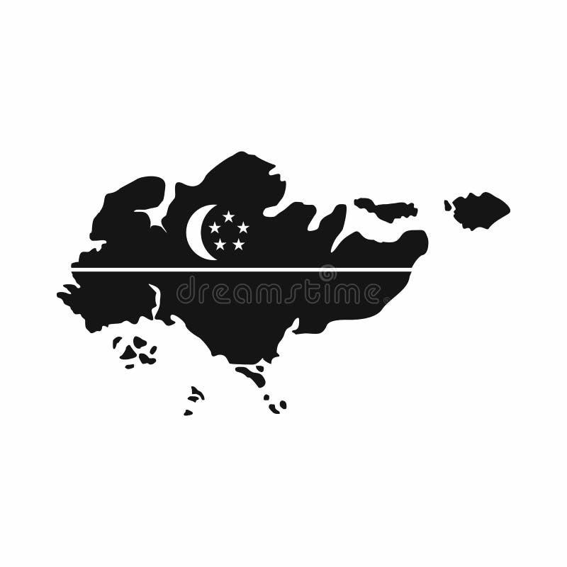 Карта Сингапура с значком флага, простым стилем иллюстрация штока