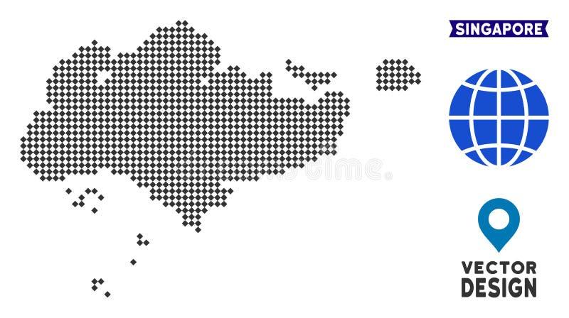 Карта Сингапура точки иллюстрация вектора