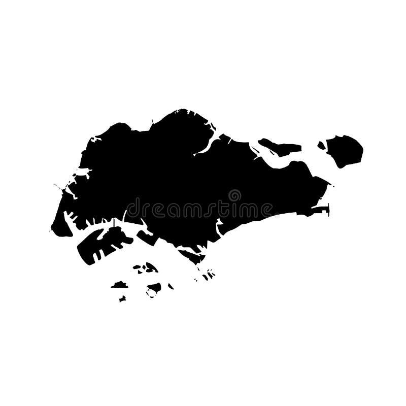 Карта Сингапур вектора E Черным по белому предпосылка иллюстрация штока