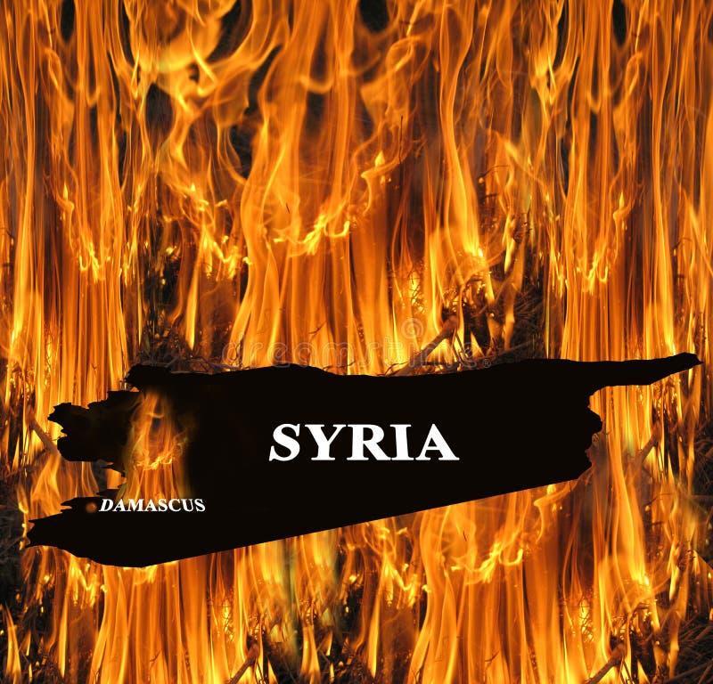 Карта Сирии на огне стоковые изображения rf
