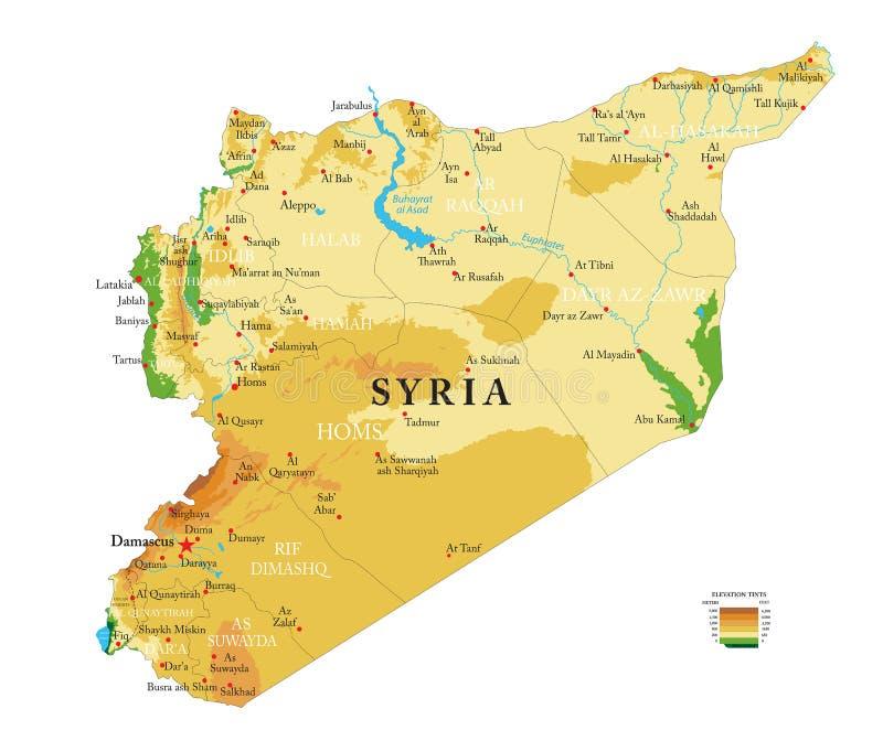 Карта Сирии физическая иллюстрация вектора