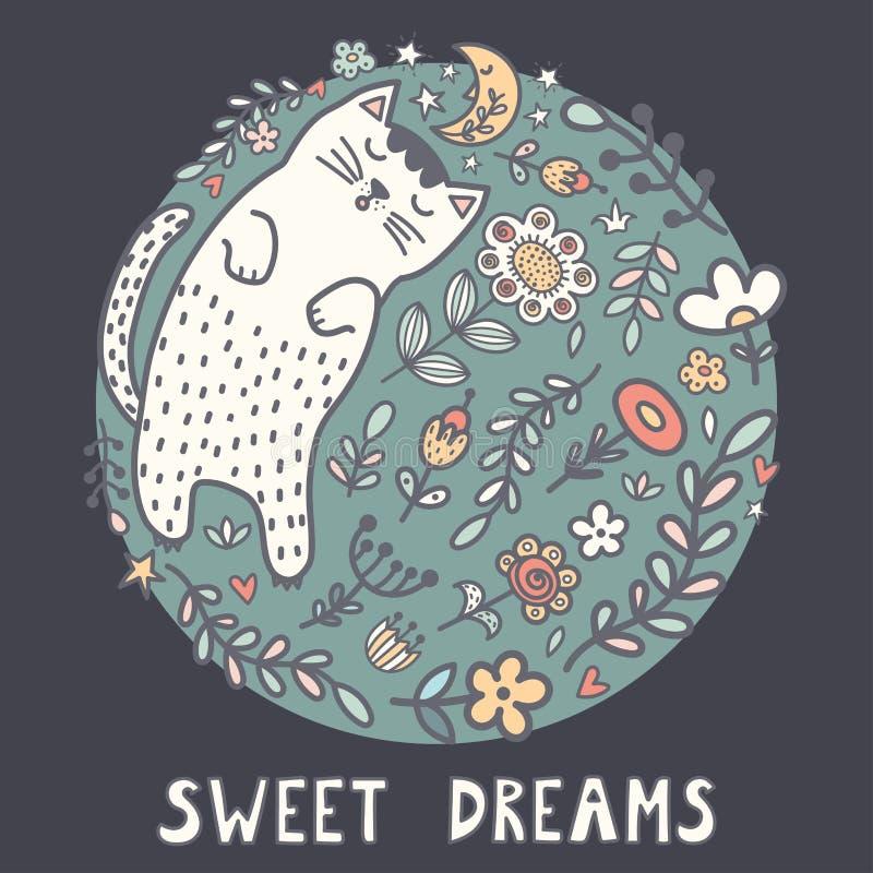 Карта сладких мечт с милым котом спать в заводах иллюстрация вектора