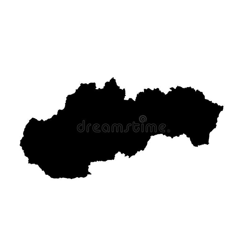 Карта Словакия вектора E Черным по белому предпосылка иллюстрация штока