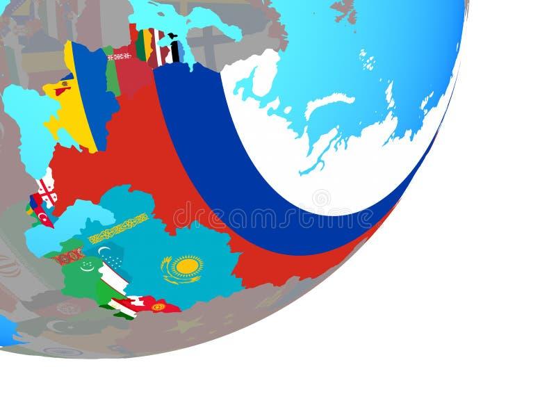 Карта Советского Союза с флагом на глобусе иллюстрация вектора