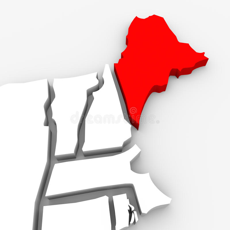 Карта Соединенные Штаты Америка положения конспекта 3D Мэн красная иллюстрация вектора