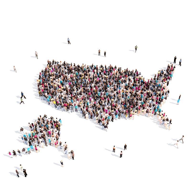 Карта Соединенные Штаты формы группы людей стоковые изображения rf