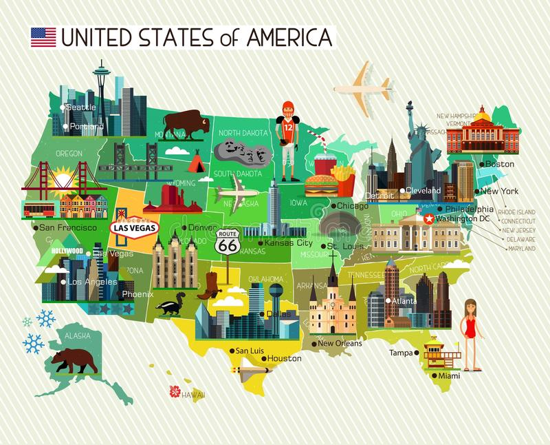 Карта Соединенных Штатов Америки и горизонт путешествуют значки иллюстрация вектора