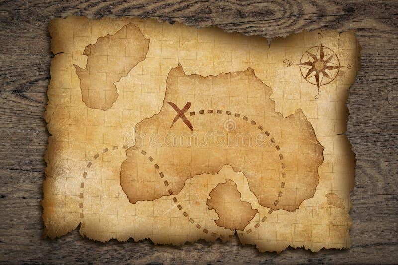 Карта сокровища пиратов старая иллюстрация штока