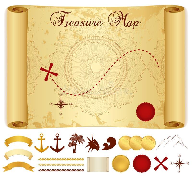 Карта сокровища. Старая, винтажная, античная бумага иллюстрация вектора