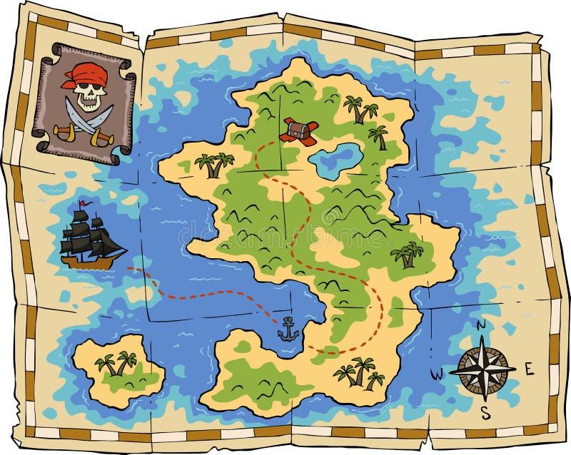 Карта сокровища иллюстрация штока