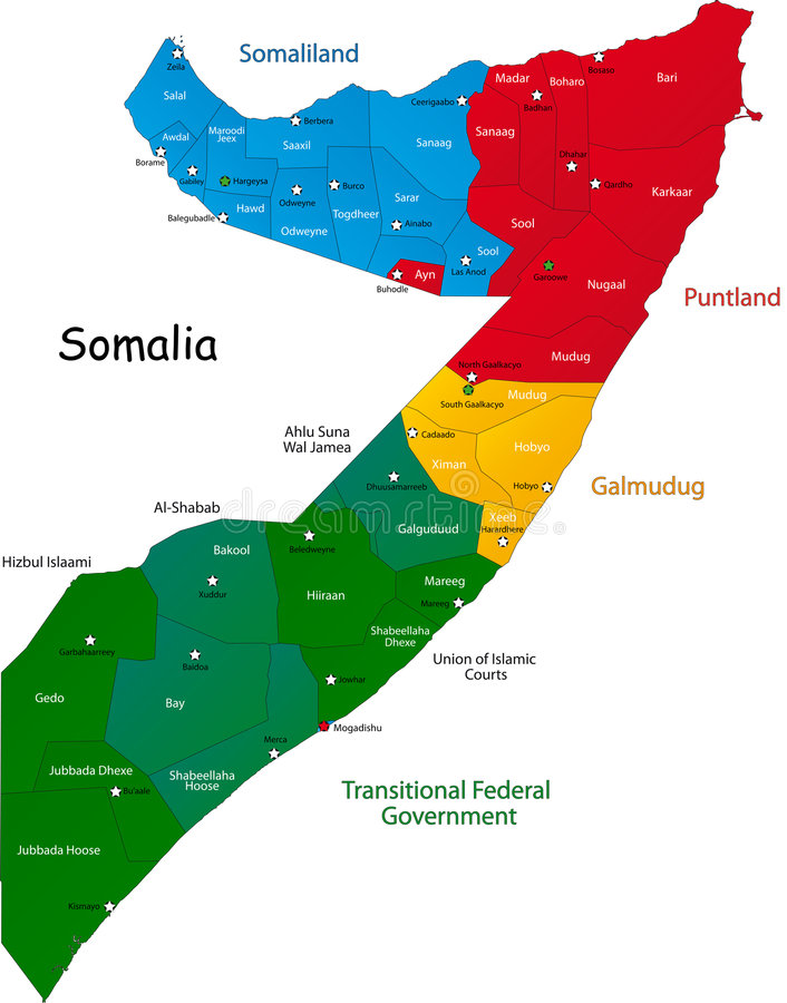 Карта Сомали иллюстрация штока